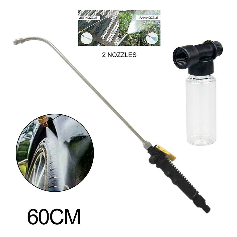 2 IN 1 High Pressure Power Car Water Washer Wand Detachable Nozzle Spray  Foam Bottle For Cleaning Dirty Sidewalks