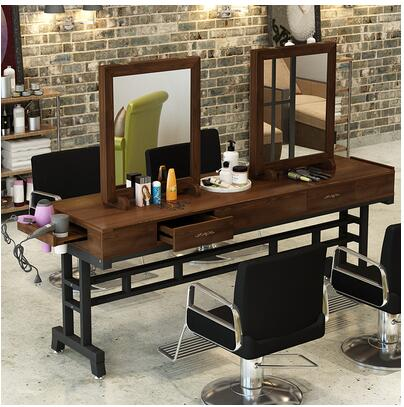 Real Wood Retro Barber Shop Mirror Desk Hairdresser Mirror Salon Dedicated To Making Old Perm Table Floor Single-sided Mirror