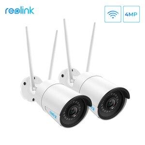 Image 1 - Reolink cámara wifi de 2,4G/5Ghz, visión nocturna infrarroja Onvif de 4MP, impermeable IP66, RLC 410W de vigilancia para interiores y exteriores, 2 unidades