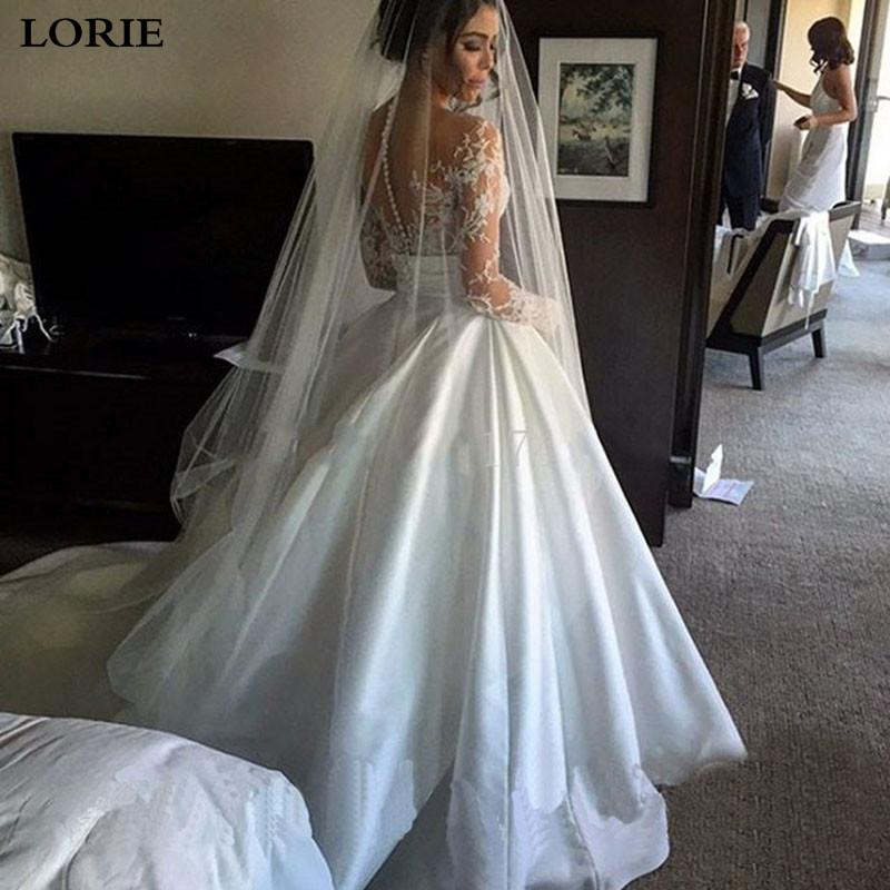 LORIE Princess Wedding Dress Long Sleeve Satin A Line Bride Dresses Wedding Gowns Vestido De Noiva