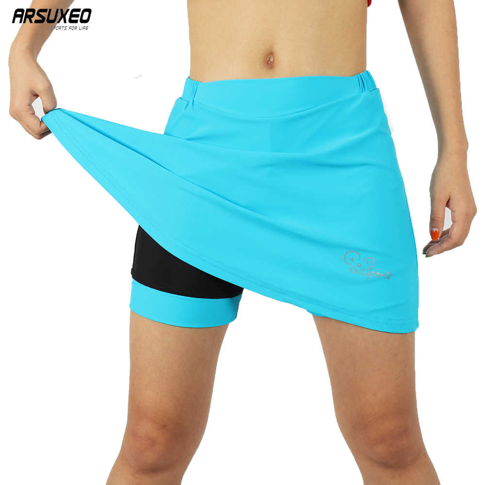 ARSUXEO Women Cycling Skirt Shorts Stretch Gel Padded Bike Clothes Reflective