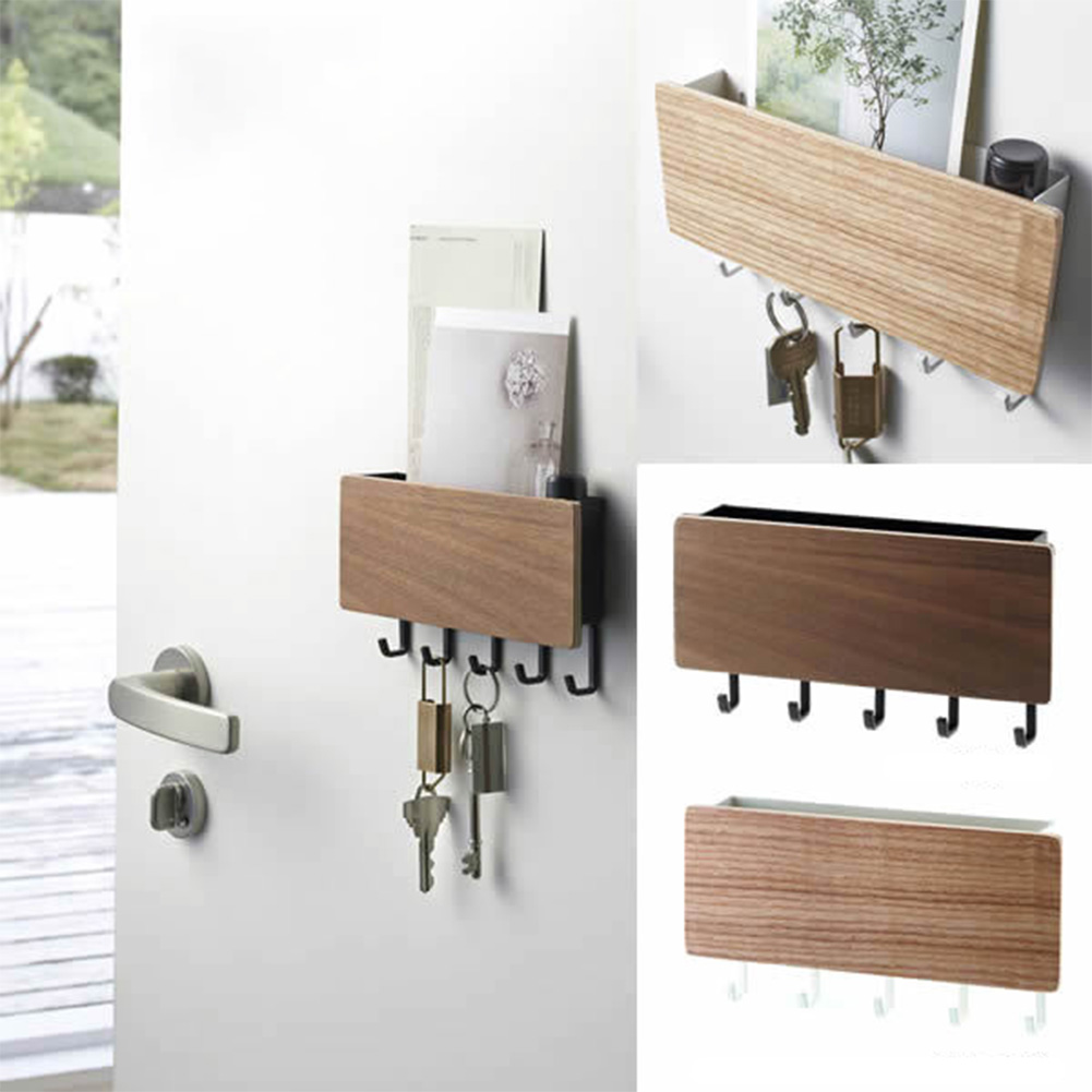 Key Hanger Decorative Simple Small Wall Hooks Space Saving Easy Install Home Vintage Wooden Door Back Storage Rack Holder(China)