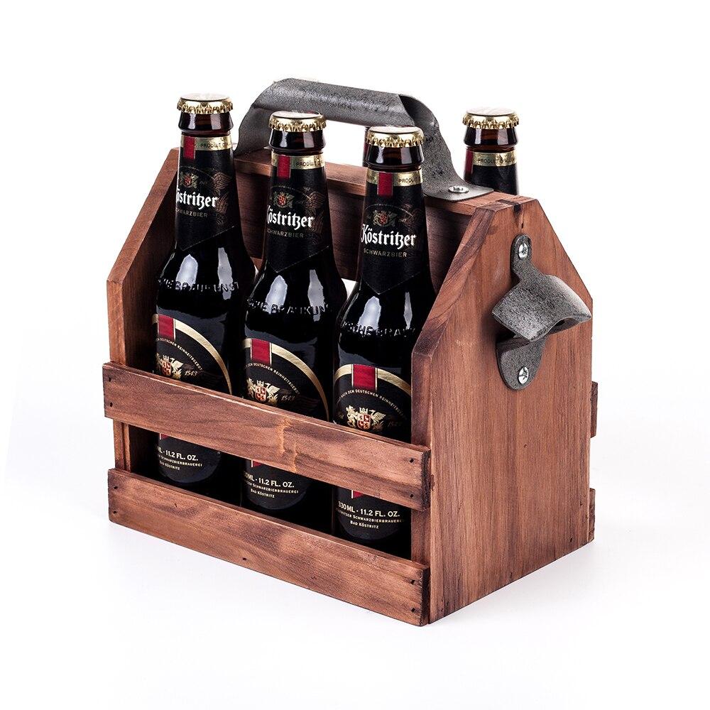 6-Pack Beer Carrier with Built-In Metal Bottle Opener Mealivos Wooden Bottle Caddy
