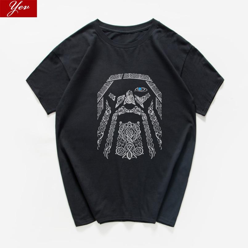 Футболка мужская свободного покроя, 100% хлопок, винтажная рубашка с принтом Викинга, Одина, воина, легенда, летняя уличная одежда в стиле Хара...