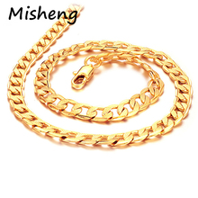 Misheng New Mens 7mm Twisted Necklace Gold Pattern Link Chain High Quality America Jewelry to Send Friends Brand Accessories