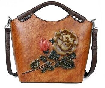 Genuine Leather Vintage Floral Top Handle Shoulder Female Bags First Layer Cowhide Leisure Messenger Embossed Bag Women Handbags
