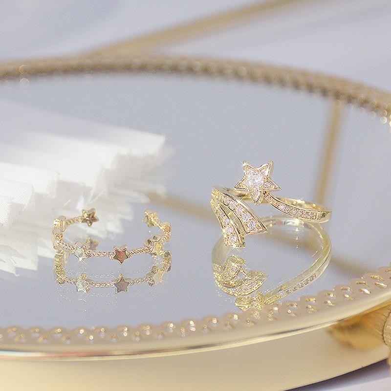 Mignon ouvert Design météore étoile anneau pour les femmes réglable brillant CZ 14K réel or anneaux Bague romantique Anillos Bijoux accessoires 5