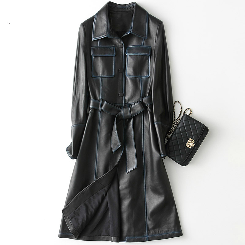 Leather Genuine Jacket Women 2020 Vintage Natural Sheepskin Coat With Belt Long Spring Autumn Trench Female 28214 YQ2178
