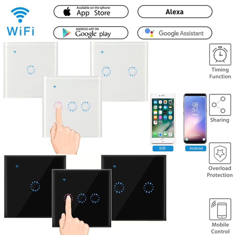 WiFi Smart Light Switch Glass Panel Touch Switch Compatible With Alexa Google Home Smart Wall Switch 10A 90-250V Timer Function