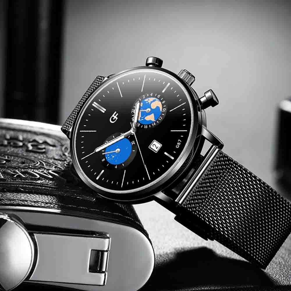 Men's Watch Fashion Male Simple Analog Quartz High-End Calendar Interest Casual Wrist Gifts Stainless Steel Watches 2019 #D