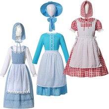 California traje pionero niñas vestido Vintage chico Pairie vestido + sombrero + delantal adolescente América pueblo Colonial señora papel jugar Bata