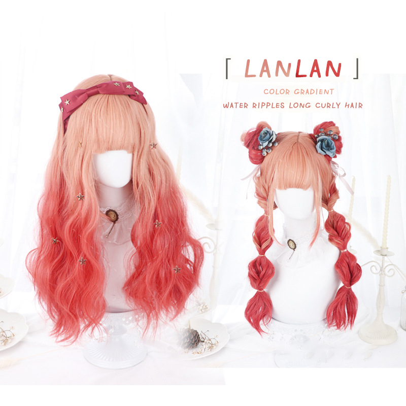 LANLAN dyed gradient female water ripple long curly hair orange rouge color Lolita cosplay Harajuku daily synthetic wig