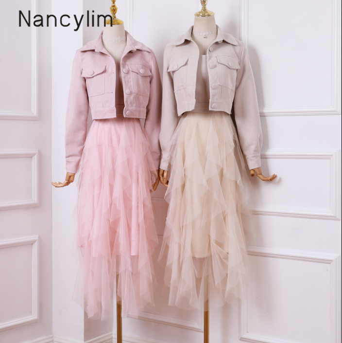 Fall Long Dress Set Femme Small Lapel Jacket + Irregular Mesh Skirt Women's Two Piece Sets Corduroy Set Lady Student Outfits