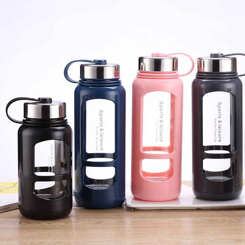 Glass Sport Water Bottle 600ml / 900ml with Stainless Steel Lid Outdoor Bike Bottle with Handle Sealed Leakproof Drink Cup image