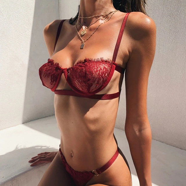 2020 New Lace Sexy Bra Set Push Up Seamless 1/2 Cup Lingerie Set Women Transparent Bra