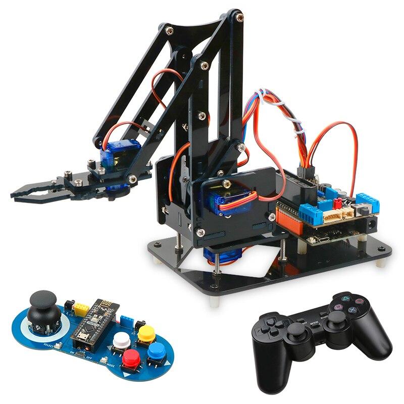 4DOF Kit de brazo Robot DIY juego de garra robótica educativa brazo mecánico para Arduino R3, PS2/2,4G Control inalámbrico, programación Scracth