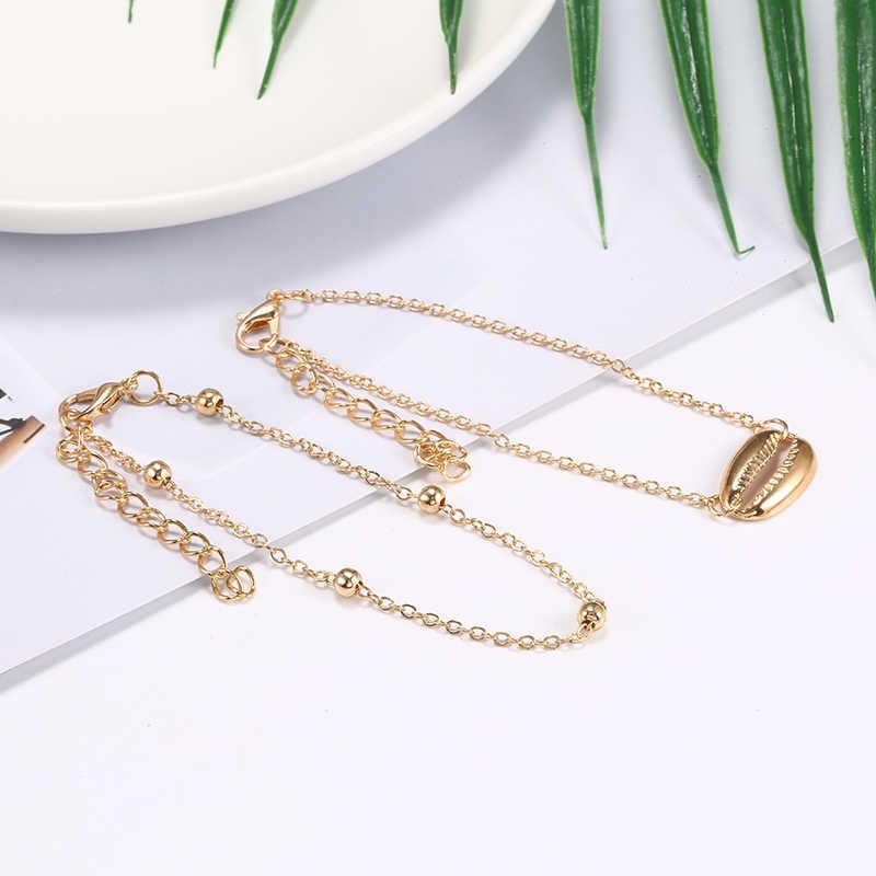 Pulsera S166 de cuentas de oro de múltiples capas y concha Bohemia, conjunto de 2 piezas de pulsera para mujer, joyería para pie, cadena para tobillo, accesorios