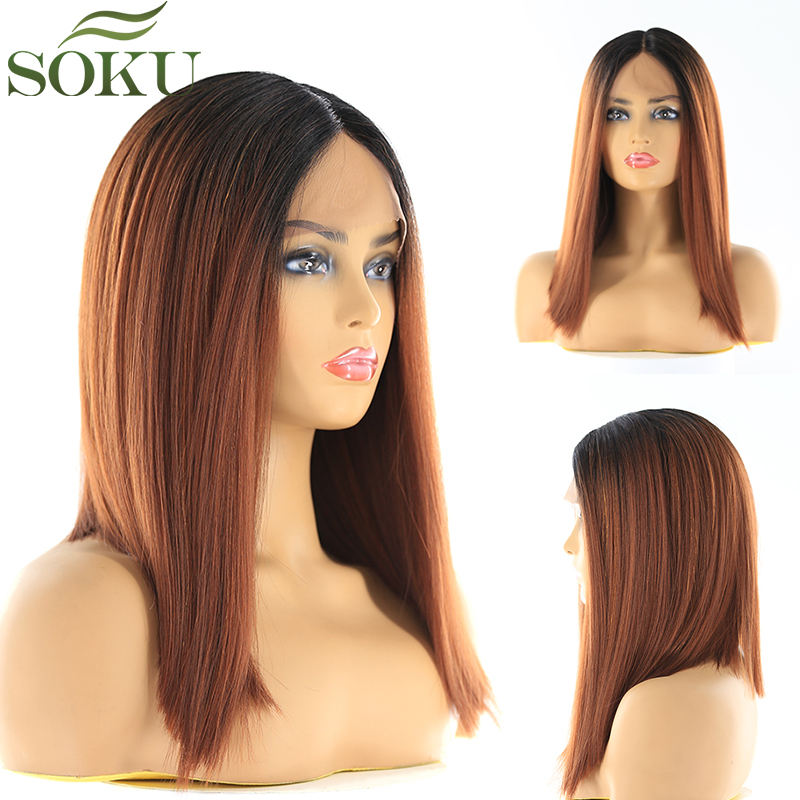 SOKU Wigs Short Lace-Front Synthetic Yaki Middle-Part Black Straight Women Bob for High-Temperature