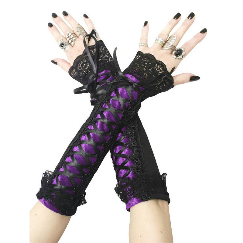 Imily Bela Gothic Arm Warmers Women Sleeves Bandage Lace Patchwork Arm Shaper Lace-up Mangas