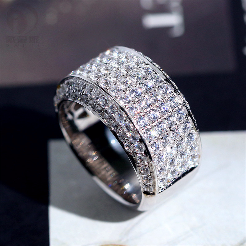 Big Bling 925 Sterling Silver Color Zircon Rings For Man Fashion Wedding Engagement Ring Jewelry 2020