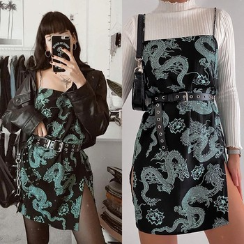 Vintage Dragon Printed Mini Dress Summer 2020 Women Street Strap Dresse Club Slim Party Tigh Short Dress Harajuku Robes vestidos 2