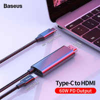 Baseus USB C HDMI Cable Type C to HDMI Thunderbolt 3 2 60w PD Power Adapter for MacBook Pro iPad USB-C to 4K HDMI Digital Cable