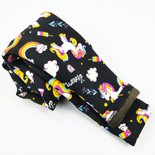 Unicorn Pattern Printing Autumn Winter Children Girls Leggings Plus Velvet Thicking Warm Kids Pants Cartoon Baby Clothing