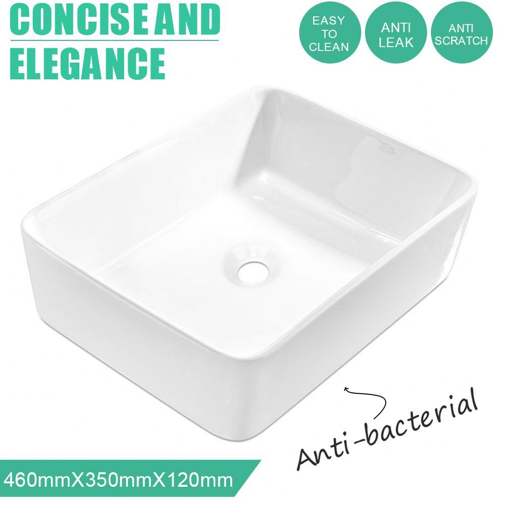 Lavabo rectangulaire en céramique plan de travail de lavabo couleur blanche pour salle de bain salle de lavage