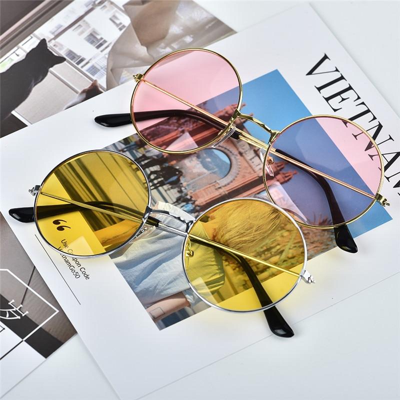 TTLIFE Retro Round Sunglasses Multi Color Ocean Lens Men And Women Trend Sun Glasses Metal Frame Pink Sunglasses Purple Glasses