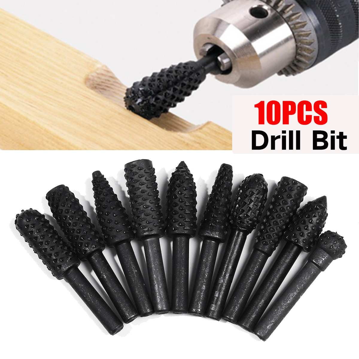 10Pcs/Set Dremel Routing Titanium Milling Wood Rotary Knife File Cutters Woodworking Carving Carved Cutter Tools Accessories