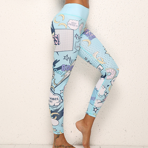 Image 4 - IWUPARTY 2 Piece Cute Pink Printing Yoga Set Women Workout Gym Outfit Sets Sport Fitness Crop Top Leggings Running Ladies Suit