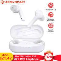 Auriculares inalámbricos M21 TWS con Bluetooth 5,0, auriculares de 18h con Control táctil y micrófono para iPhone X Xiaomi Huawei y Samsung