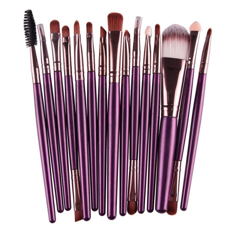 Профессиональная 15 шт. набор кистей для глаз, косметическая Кисть для макияжа, Женская основа для макияжа, тени для век, подводка для глаз, гу...