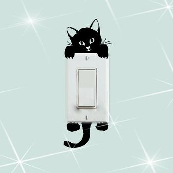 Cute Cat Wall Stickers Light Switch Decor Decals Art Mural Baby Nursery Room Baby Stickers Plane Wall Sticker Home Decorations image