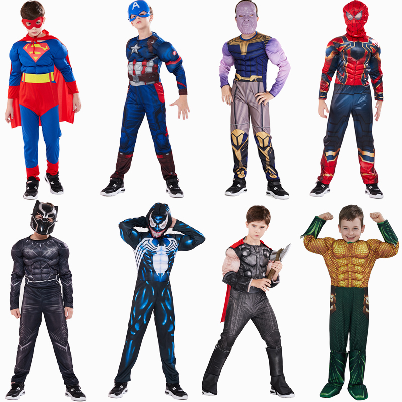 Captain America Superman Iron Man Spiderman Thor Hulk Flash Muscle Costume Cosplay Superhero Costume Hallloween Costume For Kids