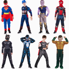Captain America Superman Iron Man Spiderman Thor Hulk Flash Muscle Costume Cosplay Superhero Hallloween For Kids