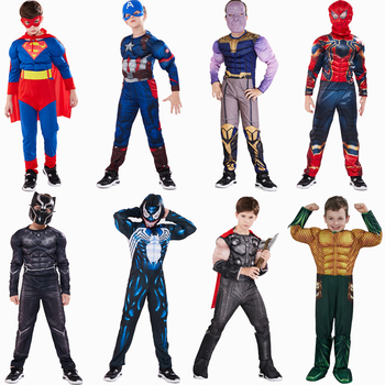 цена Captain America Superman Iron Man Thor Hulk Flash Muscle Costume Cosplay Superhero Costume Hallloween Costume For Kids онлайн в 2017 году