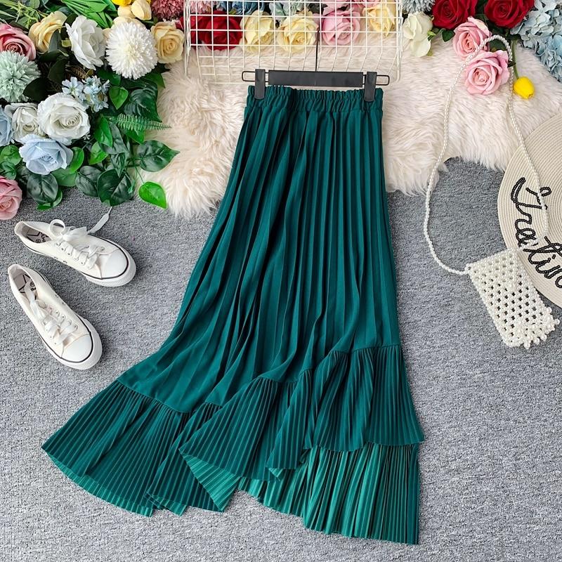 Women's Pleated Skirt Autumn Spring Stitching Europe High Waist Patchwork Skirts Woman Faldas Female Clothing LS197