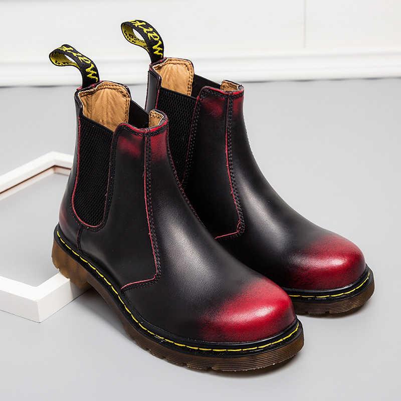 Yüksekliği artan botlar erkekler 2019 erkek ayakkabı rahat yüksek üst Chaussure Homme Chelsea çizmeler erkekler kadınlar rahat deri çizmeler çift