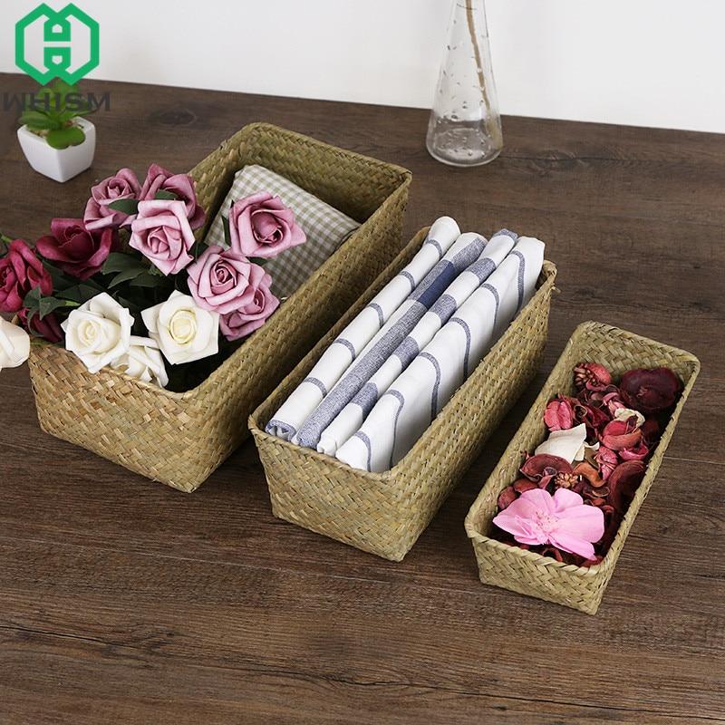 Woven Fruit Bread Storage Basket Bathroom Tool Organizers Cosmetic Sundries Storage Box Outdoor Picnic Basket Home Organization
