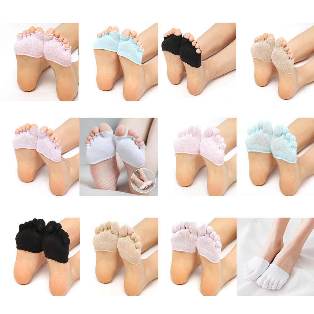 Yarım palmiye beş parmak çorap bayanlar pamuk görünmez yaz ince yarım klip yüksek topuk nefes ön ayak kaymaz çorap