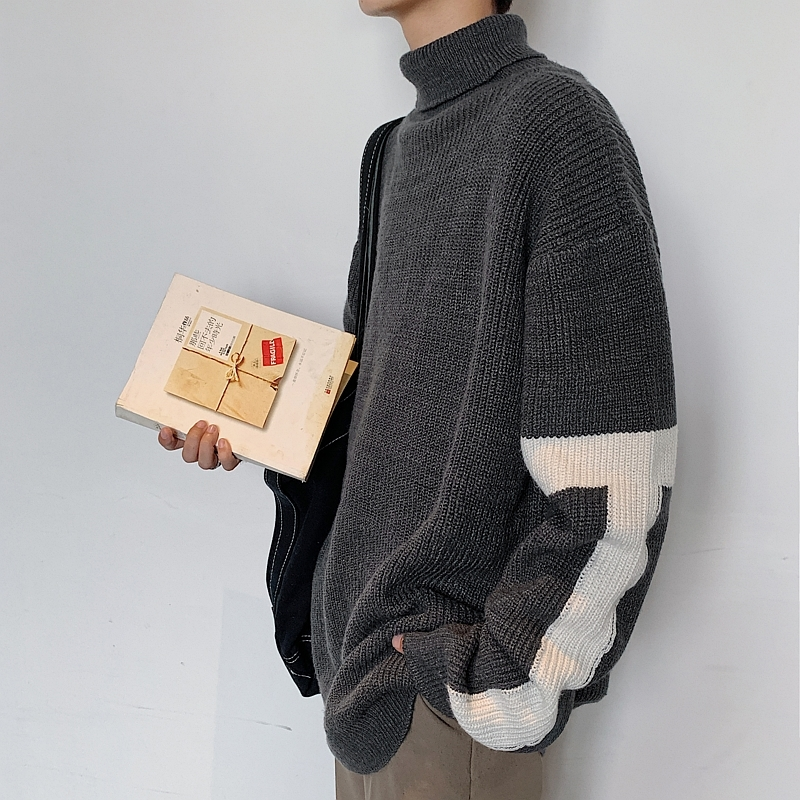 2019 New Autumn And Winter Korean Version Of The Couple Loose Stitching Men's High Collar Casual Sweater Large Size
