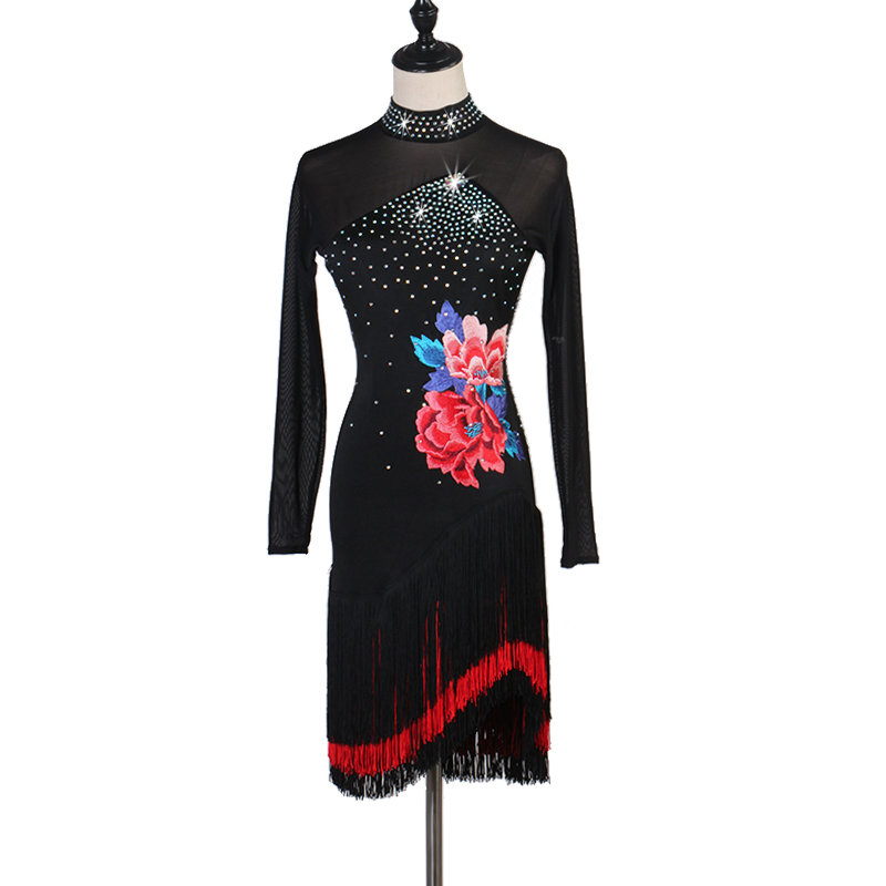 Long Sleeve Latin Competition Dance Skirt Women Black Tassel Standard Latin Dancing Dress Adult Rumba Samba Latin Dance Dress