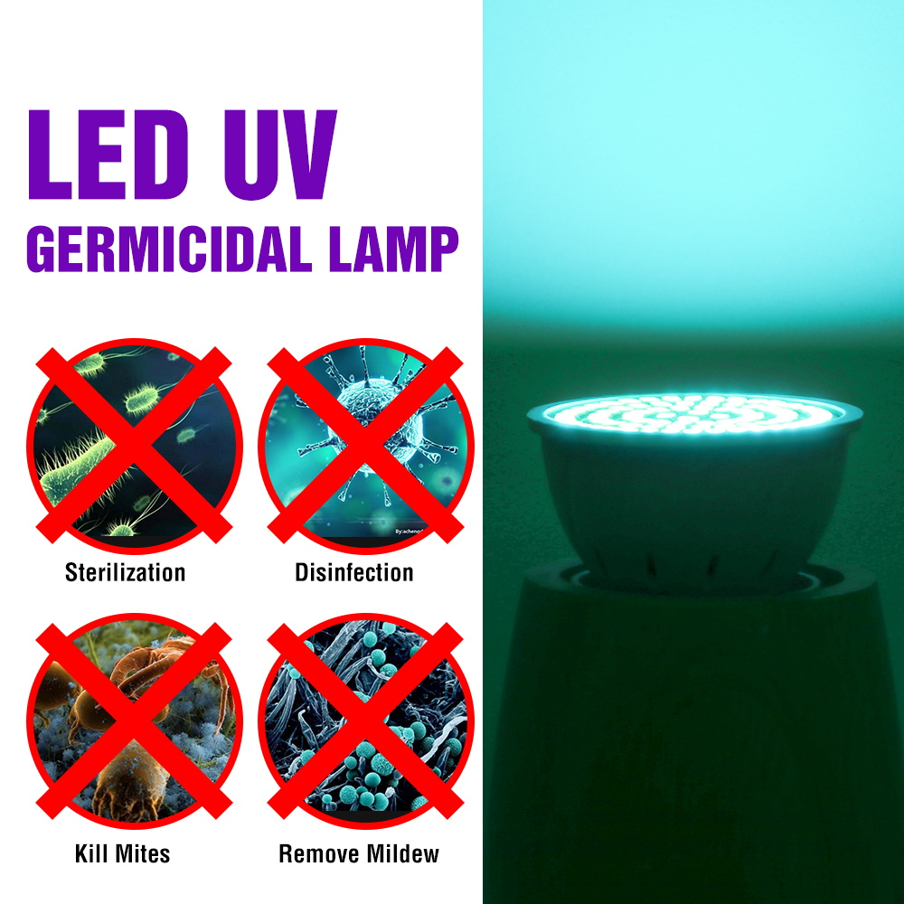 E27 UVC Lamp Sterilizer E14 UV Germicidal Light GU10 LED Desinfection Lamp MR16 Ultraviolet LED Light Bulb 48 60 80leds Amuchina