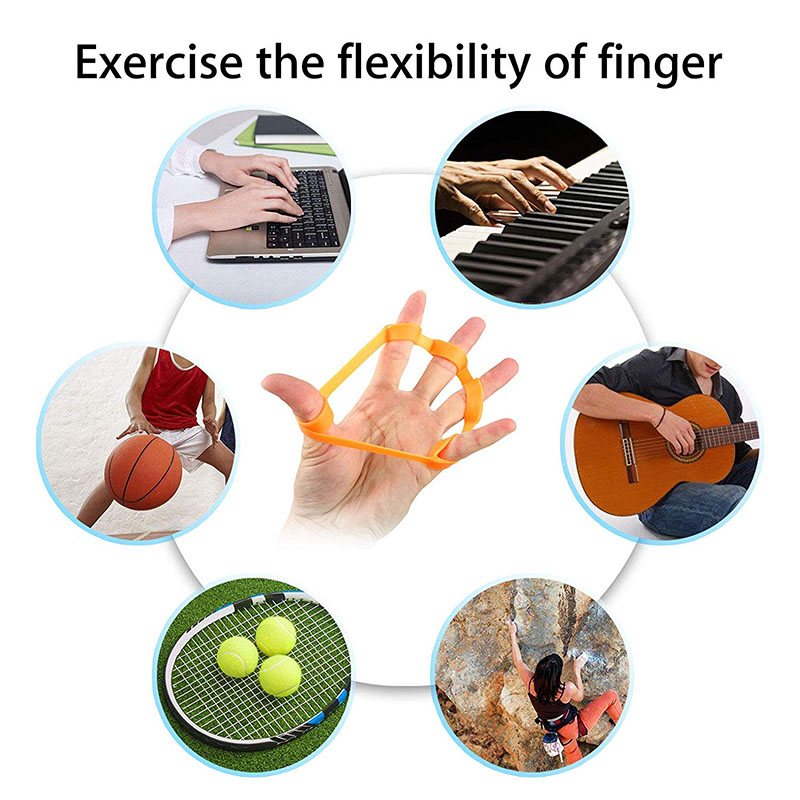 Silicone Finger Stretcher Hand Resistance Bands Hand Extensor Exerciser Finger Grip Strengthener Strength Trainer Gripper in Hand Grips from Sports Entertainment