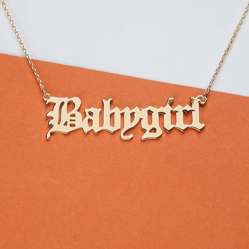 Модное ожерелье для маленьких девочек, английское ожерелье для маленьких девочек, подвески с буквами, ювелирные изделия из нержавеющей ста...