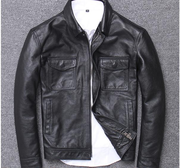 He1492382f851432da3cd3543b4ed48077 YR!Free shipping.sales.Clearance.$99.99 cowhide jacket.mens genuine leather coat.fashion vintage casual leather outwear.classic