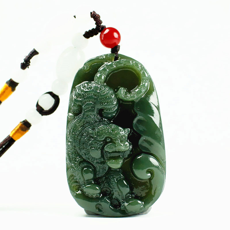 Natural Hetian Jade Zodiac Tiger Pendant Necklace Charm Jewellery Fashion Accessories Hand-Carved Man And Woman Luck Amulet Gift
