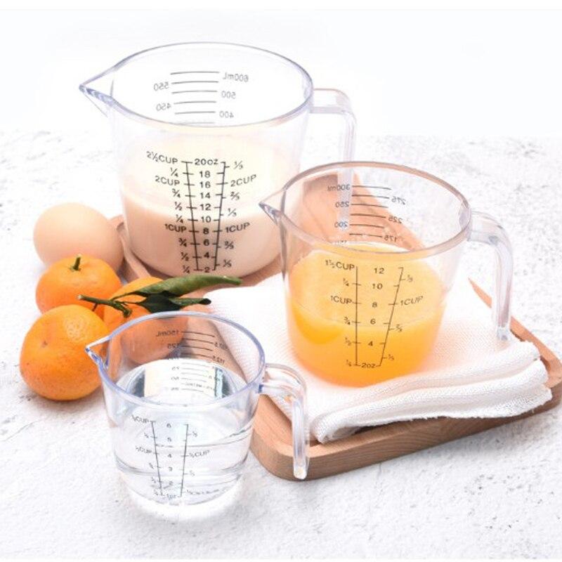 150/300/600ml haute qualité en plastique tasse à mesurer échelle claire montrer Transparent tasse verser bec 3 tailles appareil de mesure