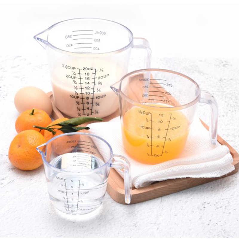 Tasse de mesure en plastique de haute qualité   150/300/600ml échelle claire, spectacle tasse transparente Pour bec verseur dispositif de mesure 3 tailles
